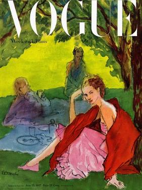 Vogue Cover - June 1947 by René R. Bouché