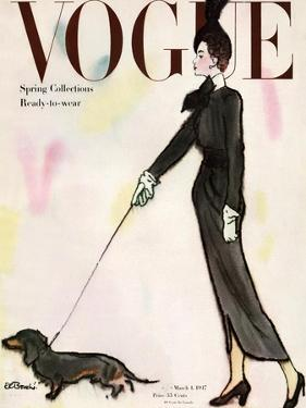 Vogue Cover - March 1917 - Dachshund Stroll by René R. Bouché