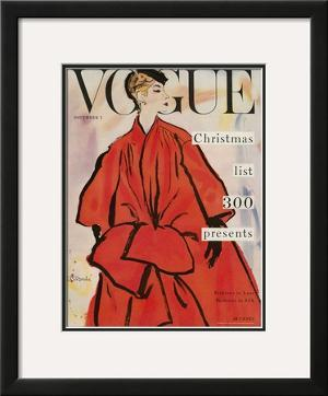 Vogue Cover - November 1953 by René R. Bouché