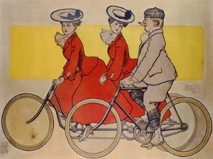 Man on a Bicycle and Women on a Tandem, 1905 by René Vincent