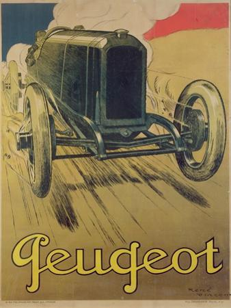 Poster Advertising a Peugeot Racing Car, C.1918 (Colour Litho) by René Vincent