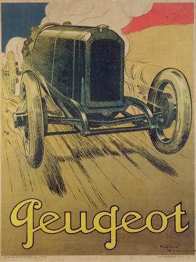 Poster Advertising a Peugeot Racing Car, C.1918 (Colour Litho) by René Vincent