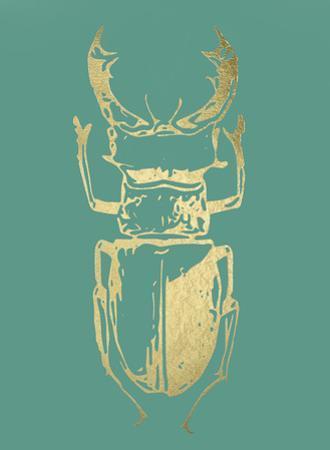 Gold Foil Beetle III on Emerald by Renée Stramel