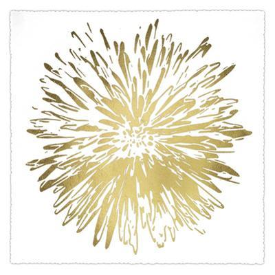 Gold Foil Flower Burst I Deckled