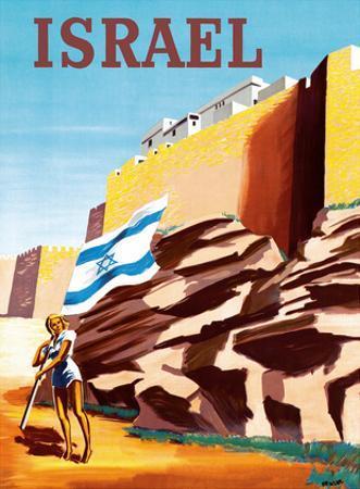 Israel - Zionist Heroic Girl Holding Israeli Flag - Walls of Jerusalem by RENLUC