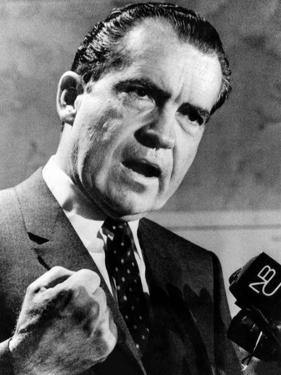 Republican Presidential Candidate Richard Nixon Speaking with a Clenched Fist on April 20, 1968