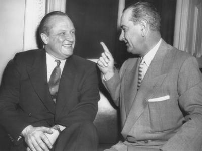 Republican Senator William Knowland with Democratic Sen. Lyndon Johnson
