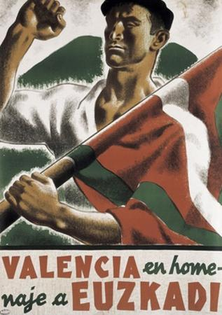 Republican Spanish Civil War Poster, Valencia in homage to Euzkadi