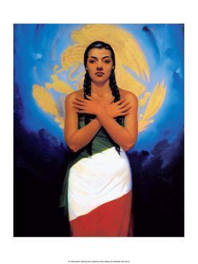 Retro Mexican Poster, Flag Girl