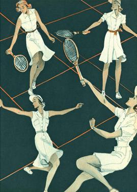 Retro Tennis Poster, Woman's Doubles Match