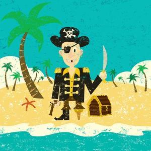 Pirate on an Island with Treasure a Pirate with His Treasure on a Deserted Island by Retrorocket