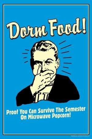 Dorm Food Survice On Microwave Popcorn Funny Retro PosterRetrospoofs Part 92