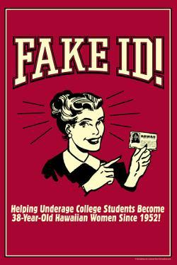 Fake ID Underage College Students Older Hawaiian Women Funny Retro Poster by Retrospoofs