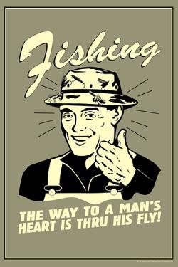 Fishing Way To Man's Heart Through His Fly Funny Retro Poster by Retrospoofs