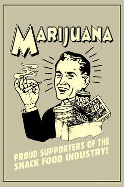 Marijuana Proud Sponsor Of Snack Food Industry Funny Retro Poster by Retrospoofs