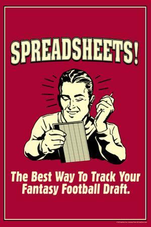 Spreadsheets Best Way Track Fantasy Football Draft Funny Retro Plastic Sign by Retrospoofs