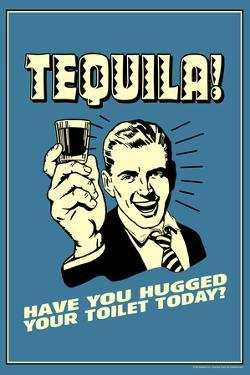 Tequila Have You Hugged Your Toilet Today Funny Retro Poster by Retrospoofs