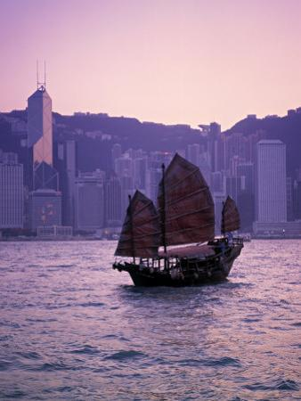 Chinese Junk, Victoria Harbour, Hong Kong, China by Rex Butcher