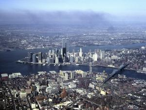 Aerial View of the Twin Towers of the World Trade Center by Rex Stucky