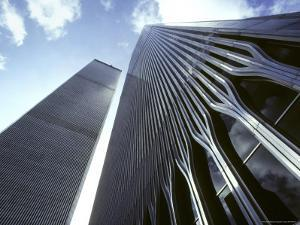 Skyward View of the Twin Towers of the World Trade Center by Rex Stucky