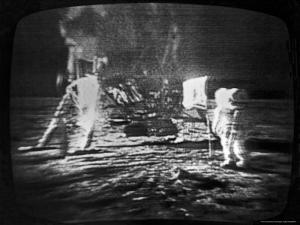 Televised View of the Apollo 11 Astronauts Walking on the Moon by Rex Stucky