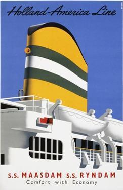 Holland America Line, Comfort with Economy Poster by Reyn Dirksen
