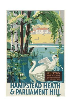 Hampstead Heath and Parliament Hill, London County Council (LC) Tramways Poster, 1933 by RF Fordred