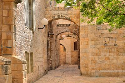 Narrow Cobbled Street among Traditional Stoned Houses of Jewish Quarter at Old Historic Part of Jer