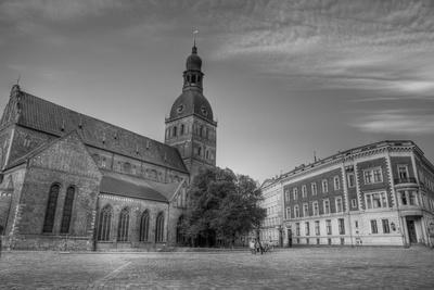The Dom Cathedral - Famous Protestant Cathedral in Riga, Latvia (Black & White).