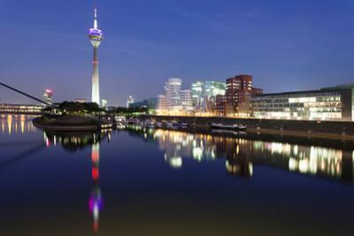 Rheinturm Tower and Gehry Buildings at Dusk, Media Harbour, Dusseldorf, North Rhine Westphalia