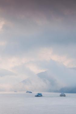 Rhine River shipping traffic in fog, Oberwesel, Rhineland-Palatinate, Germany