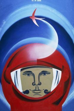 Soviet Poster Commemorating Gagarin by Ria Novosti