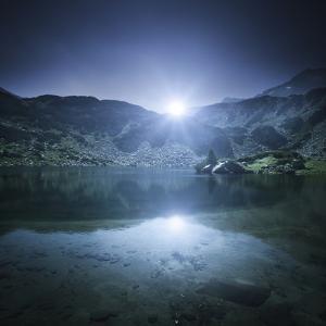 Ribno Banderishko Lake with Setting Sun, Pirin National Park, Bulgaria