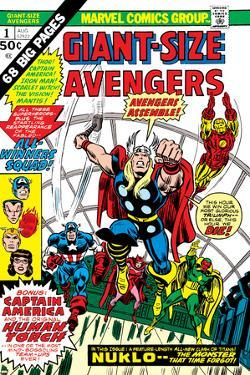 Giant-Size Avengers No.1 Cover: Thor, Captain America, Iron Man, Vision and Scarlet Witch Charging by Rich Buckler