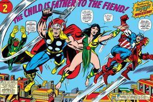 Giant-Size Avengers No.1 Group: Thor, Captain America, Iron Man, Vision and Mantis Flying by Rich Buckler