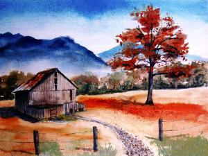 Kentucky Barn with Blue Mountains in Background by Rich LaPenna