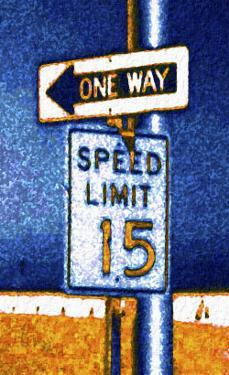 One Way and Speed Limit Sign by Rich LaPenna