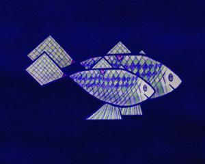 Two Blue and Green Happy Fish by Rich LaPenna