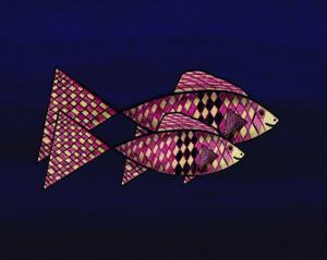 Two Red and Yellow Happy Fish by Rich LaPenna