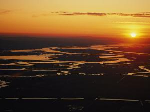 Aerial Sunset of the Suisun Slough, Sacramento Wetlands by Rich Reid