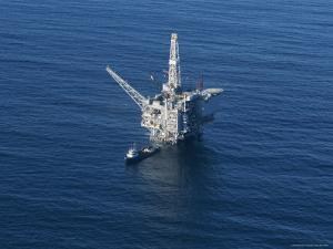 Aerial View of an Oil Rig in the Santa Barbara Channel by Rich Reid