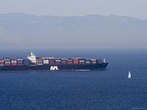 Large Container Ships Crossing the Santa Barbara Channel, California by Rich Reid
