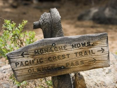 Sign on Pacific Crest Trail to Monache Meadows, Inyo National Forest, California