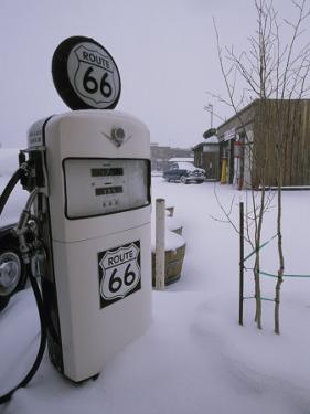 Snow-Covered Gas Pump on Historic Route 66 by Rich Reid