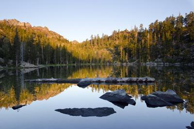 Sunrise on the Sierra Buttes Reflecting in Volcano Lake