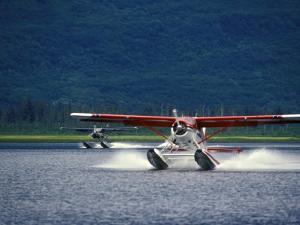 Two Floatplanes Landing on Robe Lake near Valdez, Robe Lake, Alaska by Rich Reid