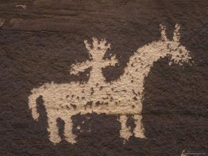 Wolfe Ranch Ute Petroglyph Panel of Horse and Rider by Rich Reid