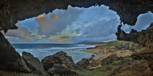 A Cave Overlooking Mo'Omomi Beach on Molokai's North Shore by Richard A. Cooke
