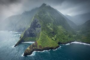 Aerial of Pelekunu Valley in Storm, Along North Shore Cliffs, Molokai, Hawaii by Richard A Cooke III