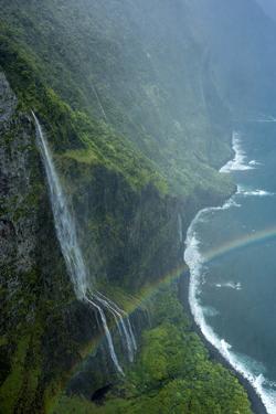 Aerial of Waiehu Waterfall in Storm, Along North Shore Cliffs, Molokai, Hawaii by Richard A Cooke III